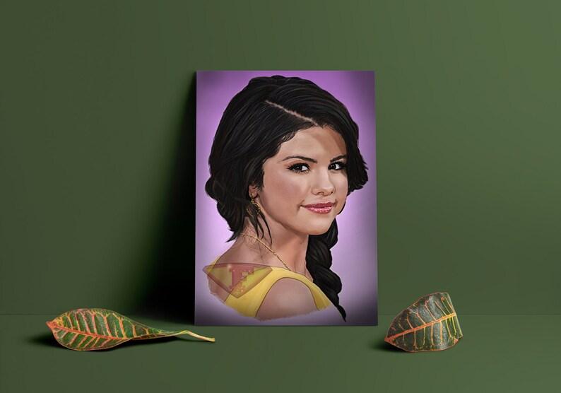 Selena Gomez Digital Art Celebrity Painting Poster Print image 0