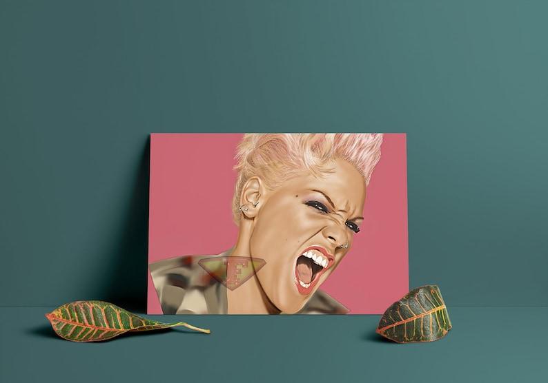 Pink Pnk Digital Art Celebrity Painting Poster Print image 0