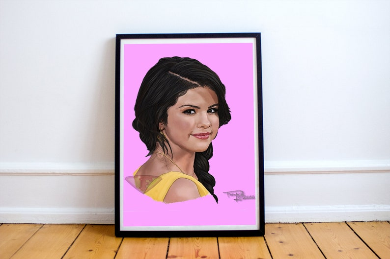 Selena Gomez Drawing Digital Art Celebrity Painting Poster image 0