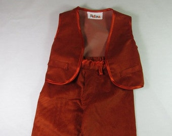 Baby boys corduroy pants, trousers and waistcoat, waterproof corduroys, clothing set for 9-12 months