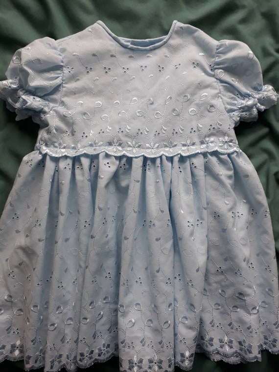 Vintage Soft Light Blue Cotton Dress With Lace Edge On Chest And Puff Sleeves For 1 2 Years Old