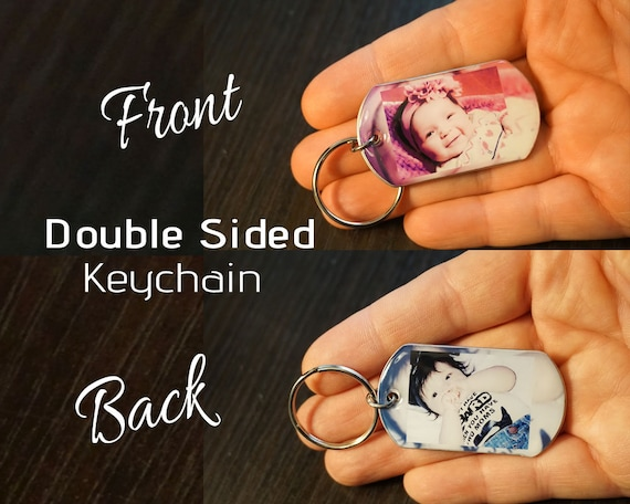 Double Sided Key Chain, Custom Picture Key Chain, Custom Photo Keychain,  personalized Keychain, Free Shipping
