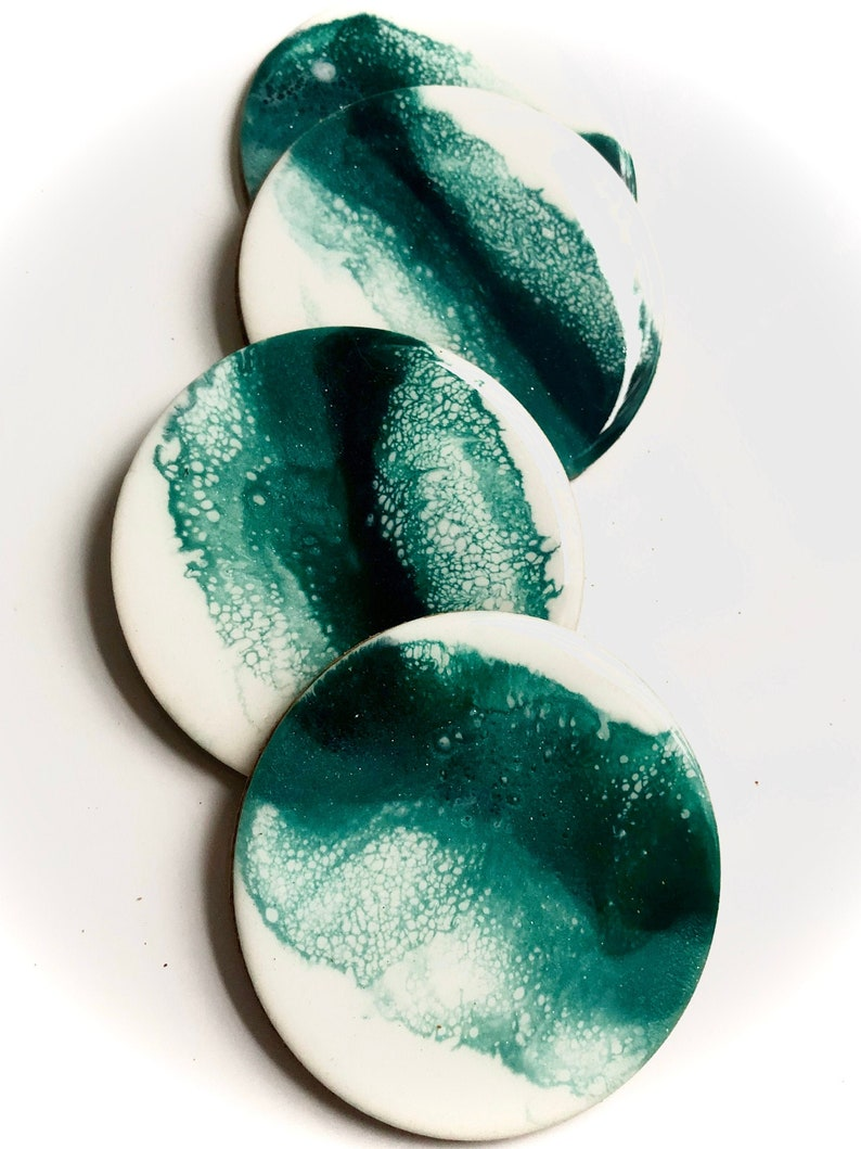 Emerald resin coasters image 0