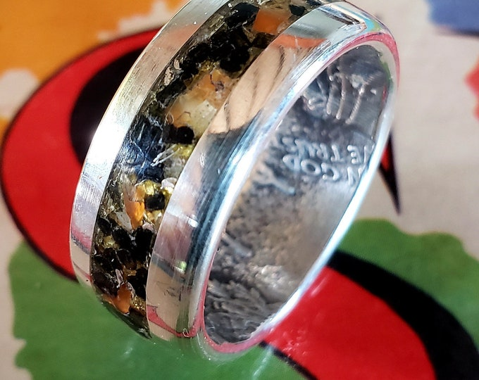 The Most Dangerous Ring In The World, Silver Eagle 2019 Biker Colors Inlay Orange Agate, Gun Powder, Silver Shavings, Morgan Dollar Option