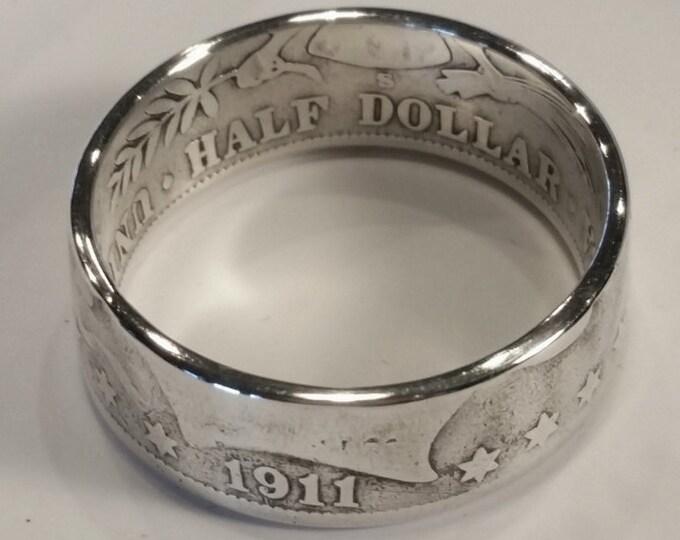 1911 Barber Half Dollar Coin Ring .90 Silver Half Dollar Ring Silver Wedding Band