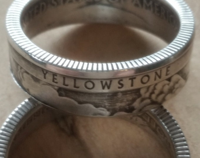 Yellowstone Silver Ring Wyoming Coin Ring 2010 Yellowstone National Park Quarter Silver Coin Ring Vacation or Memory Ring Free Shipping