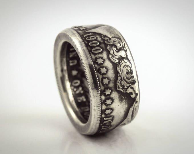 "Morgan Dollar Coin Ring Silver Dollar Ring, aka ""Gamblers Ring""  Hand Crafted American Band or Ring Turn of Century Free Shipping!"