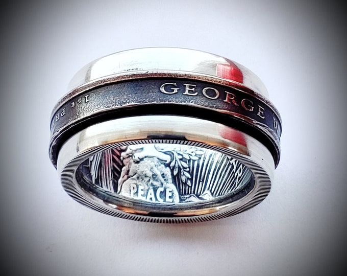 Peace Silver Dollar Coin Ring Spinner with Washington Presidential Dollar Spinner Coin Ring