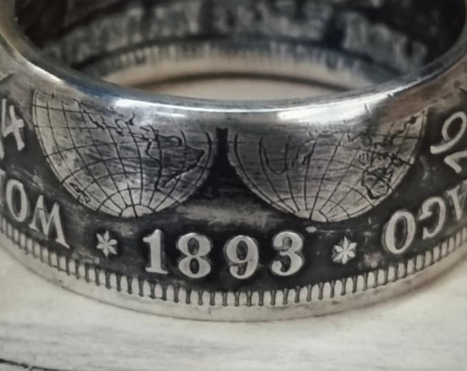 Silver Coin Ring Half Dollar Features 1892 1893, Columbian Exposition Silver Half Dollar Ring Columbus 1492 Coin Ring World Fair Ring