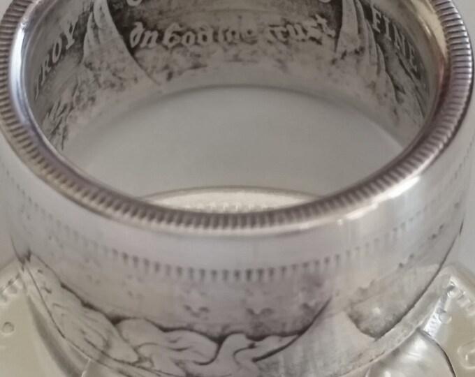 Morgan Silver Coin Ring Morgan .999 Fine Silver 1/2 Troy Oz Commemorative Coin Silver Wide Body Commemorative Morgan Coin Ring