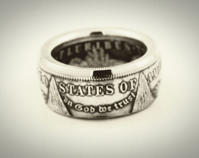 Morgan Silver Dollar Coin Ring, Pre-1904 Historical Ring, In God We Trust Tails Side Out Gamblers Coin Ring On Sale