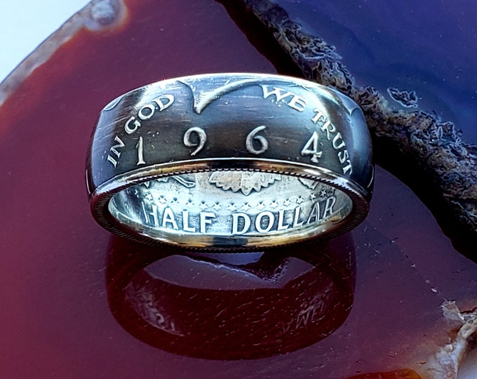 1964 Silver Coin Ring Half Dollar Kennedy 1964 Coin Ring .90 Silver Ring Birth Year Ring ships free and custom sized for you, 5.75 to 13.