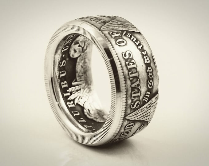 Beautiful Morgan Dollar Silver Coin Ring, Ships Free! In God We Trust Tails Side Out Gamblers Coin Ring On Sale