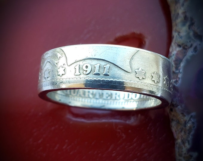 1911 Coin Ring, Barber Silver Quarter Coin Ring, Rare Coin Commemorating 1911 Owners and 1911 Enthusiast