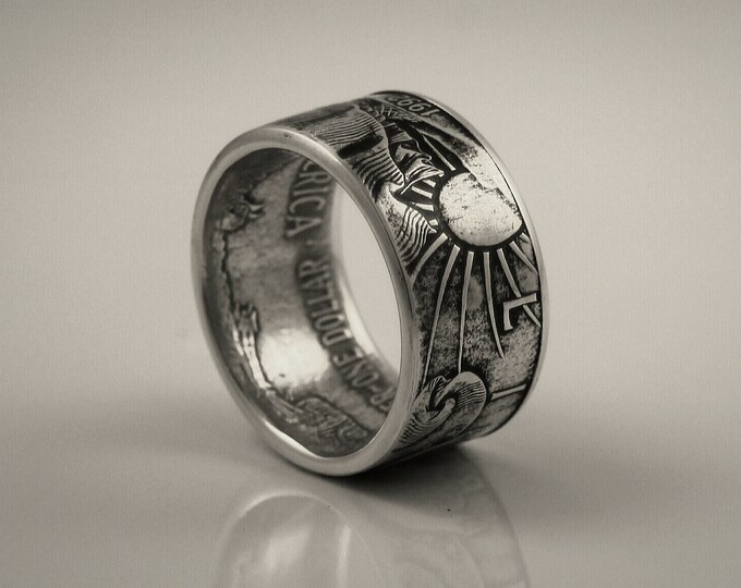 American Eagle Silver Ring Eagle Coin Ring 1993 Liberty Eagle Coin Ring From a 1 oz Fine Silver Bullion Round, On Sale and Free Shipping!