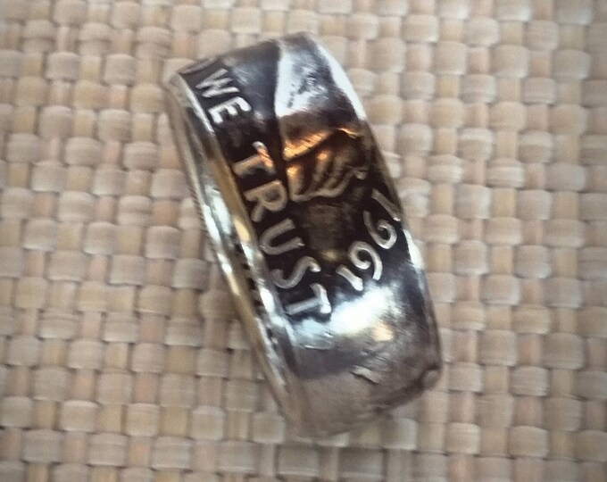 Ben Franklin Silver Half Dollar Coin Ring, 90 Percent Silver, Features In God We Trust, Liberty, United States of America 48 to 63 Ship Free