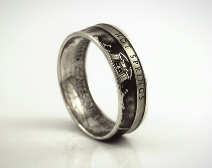 Arkansas 90% Silver Coin Ring Arkansas Coin Ring Hot Springs National Park 2010 ATB Statehood Home of Oaklawn Park On Sale Free Shipping
