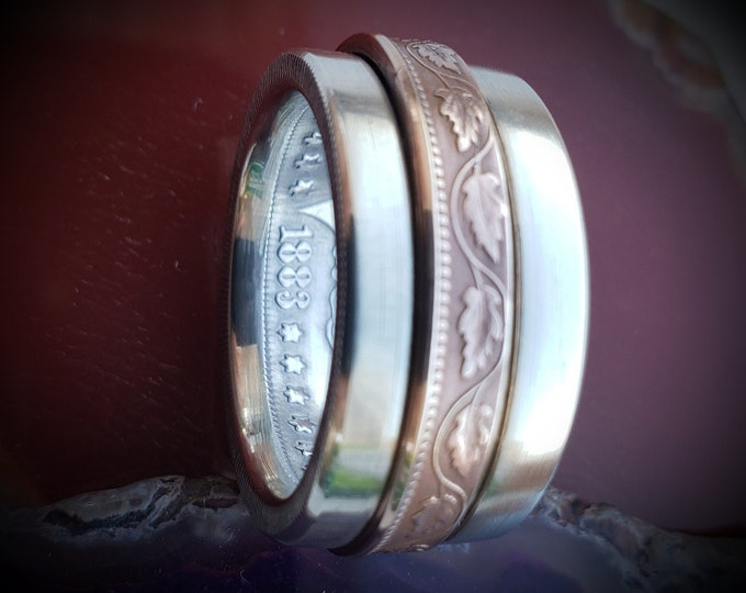 Morgan Silver Dollar Spinner Coin Ring, Canadian Large Cent Spinner Coin Ring Silver Ring With Decorative Copper Inlay