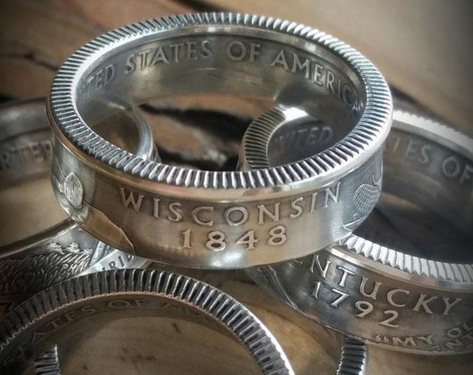 Wisconsin Silver Coin Ring Wisconsin Coin Ring ATB Silver Quarter Dollar Coin Ring Silver Quarter Coin Ring Quarter Dollar Coin Ring