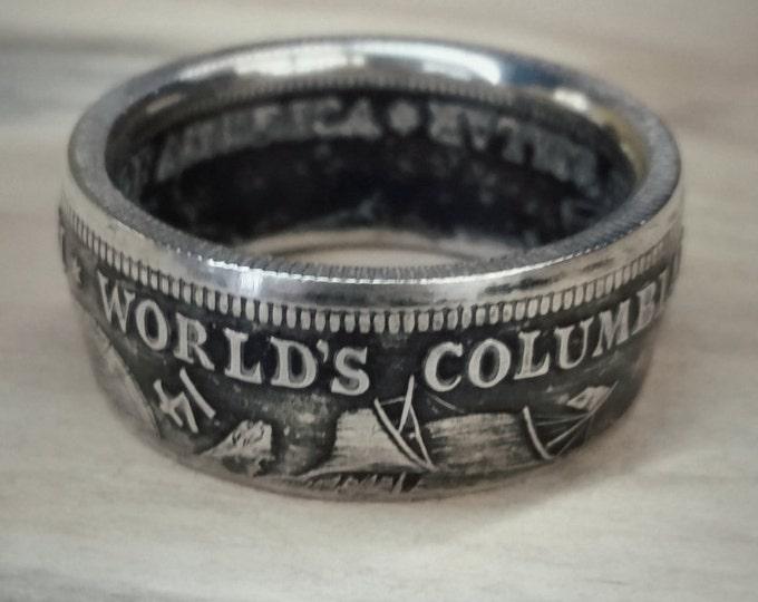 Silver Coin Ring Half Dollar 1892 1893 Columbian Exposition Silver Coin Ring Columbus 1492 Coin Ring Columbus Coin Ring World Fair Ring