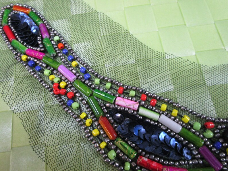 1 piece Bridal Bead Neckline Collar Appliques acrylic Beaded metal style beads for Bridal Dress Evening Gown /& wedding design decorative