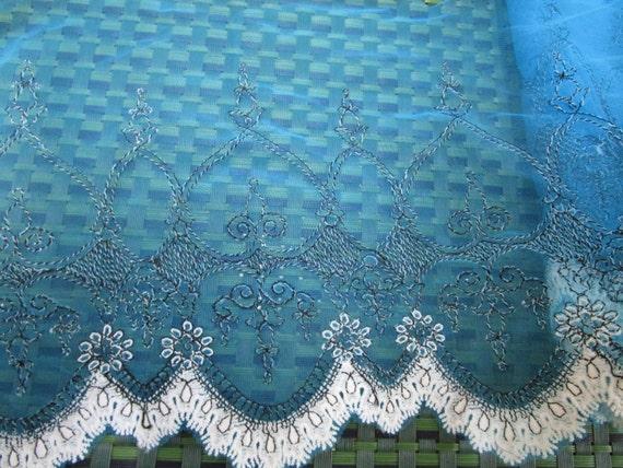 2 yards de noir largeur 7» de perruche, en coton couleur noir de et blanc haut de gamme & organza bordure à motif floral pour votre mariage ou mode design. 285312
