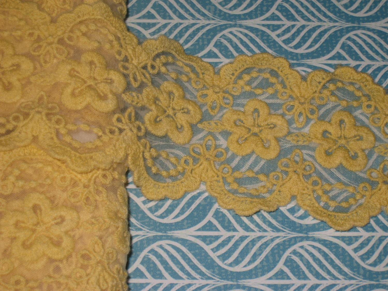 2 yards de largeur 2 1/4 1/4 2 '' couleur jaune haut de gamme au crochet en coton et organza bordure à motif floral pour votre mariage ou mode design décor 3e8cff