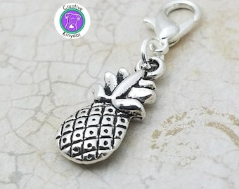 Sterling Silver 7 4.5mm Charm Bracelet With Attached Mini Pineapple Fruit Charm