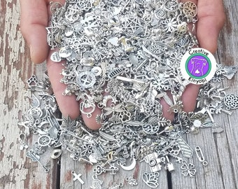 Clean bulk charms, pick your silver charm mix or get random charm bag, fast shipping from Montana, DIY charms, plz read description BCS