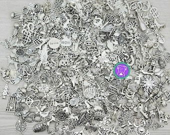 Clean bulk silver charm mix, fast shipping from usa, read description, 10 to 100, PICK YOUR CHARMS or get a random charm assortment bcs