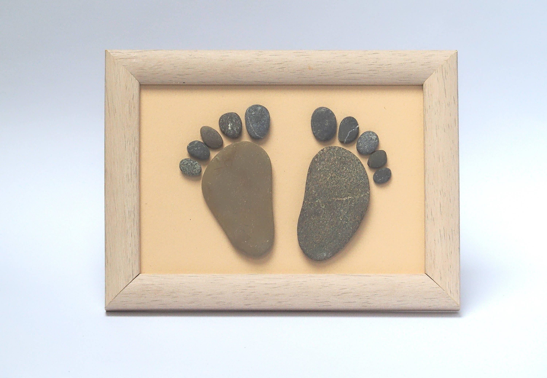 Pebble art baby feet footprints wall decor pebbles art | Etsy