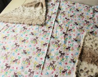 Fawn Deer Woodland Baby Blanket