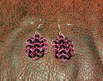 Chainmail jewelry earrings. Pink and black european  4 in 1 clusters.