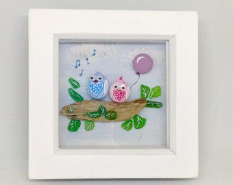 Singing Owl & Ballon Painted Pebble/ Rock Art With Seaglass, Driftwood, Beach, Coastal Framed Gift, Hanging Home Decor.