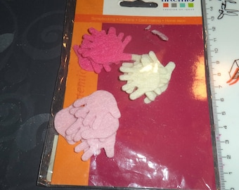 new to decorate hands felt in shades of pink