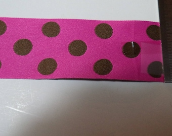 stripe pink with Brown polka dots reversible width 38 mm new