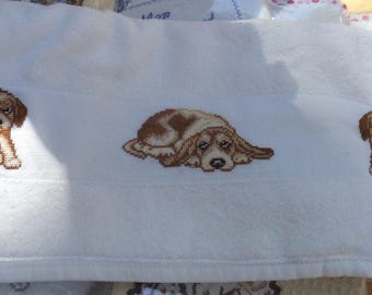 White towel with embroidered dogs new towel