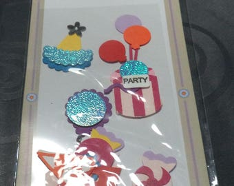 stickers stickers 3 D with glitter on the new party theme