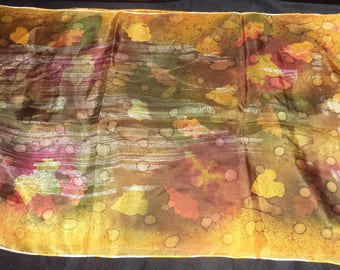 mustard silk scarf handpainted 180 cm x 45 cm of superb quality
