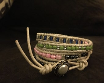Four time leather and beaded wrap bracelet