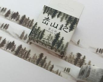 forest washi tape, misty forest washi MT, forest washi masking tape, trees washi, masking tape, scrapbooking tape,  decoration