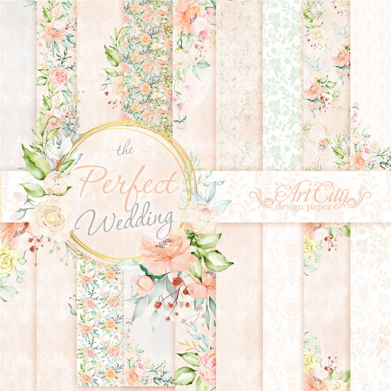 Floral watercolor papers FLORAL PATTERN Printable Floral Decoupage papers Floral Background  Wedding papers DIY invites Wedding invites