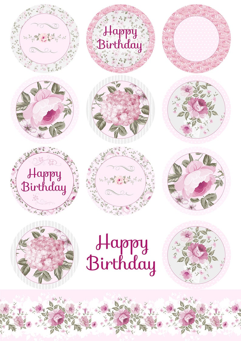 Flowers cupcakes toppers printable flowers toppers flower ...