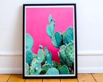 Cactus Decor, Cactus Pink Print, Cactus Art, Cactus Photography, Cactus Wall Art Print, Pink Wall Art , Pink Cactus Print, Printable