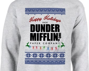 dunder mifflin happy holidays the office dwight crewneck sweatshirt ugly christmas sweater xmas shirt funny holiday gift long sleeve mom dad