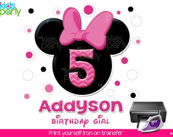 Minnie Mouse Birthday Girl Print Yourself Iron on Transfer