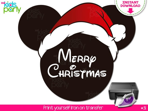 cb64977159537 INSTANT DOWNLOAD Mickey Merry Christmas with Santa Hat Printable Iron On  Transfer