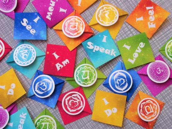 Chakra Page Marker Paper Origami Corner Bookmark Spiritual Etsy