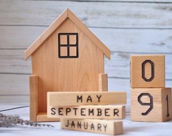 Home decor Wood perpetual calendar Office wood calendar Wooden blocks calendar Desk calendar Nursery decor Rustic calendar Farmhouse Decor