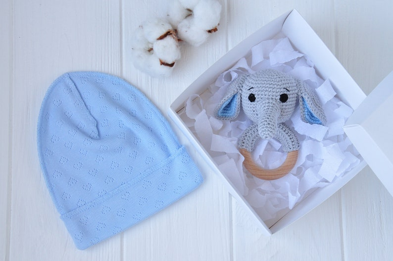 81cccf9ee29f6 Ideal newborn baby boy gifts Elephant rattle crochet Infant gift box ideas  Newborn gift from aunt Pregnancy gift set Baby shower safari toys
